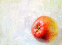 Ripe apple fruit closeup on a grunge background - art card