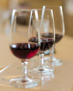 Oenology tasting of great vintage red wine vintages