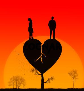 Broken heart concept illustration