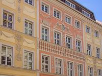 Fassaden historischer Gebäude in der Altstadt von Bautzen, Sachsen, Deutschland