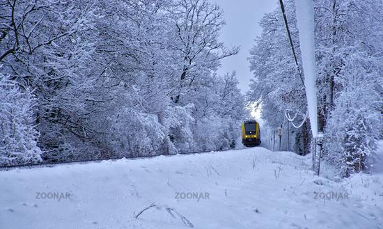 Zug im Winterwald, train in snow forest
