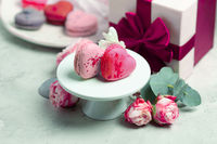 Wonderful heart-shaped macaroons for a couple in love