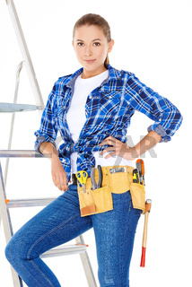 Pretty Young Carpenter Woman on Steel Ladder