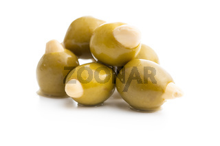Pitted green olives stuffed with almonds.