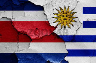 flags of Costa Rica and Uruguay painted on cracked wall