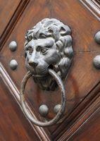 Lion head door knocker in Prague