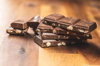 Milk chocolate bars. Dark nut chocolate