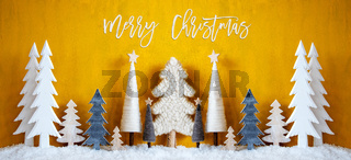 Banner, Christmas Trees, Snow, Yellow Background, Merry Christmas
