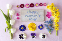 Flat Lay With Spring Flower Blossoms, Sign, Text Happy Womens Day