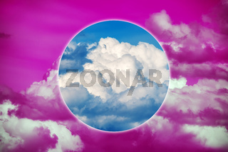 Aesthetic modern art collage with clouds sky in style of the 80-90s. Real natural sky composition in bright neon colors. Vaporwave, Cyberpunk, Synthwave, webpunk and surreal style. Zine culture.