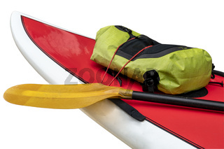 Bow and deck of expedition stand up paddleboard