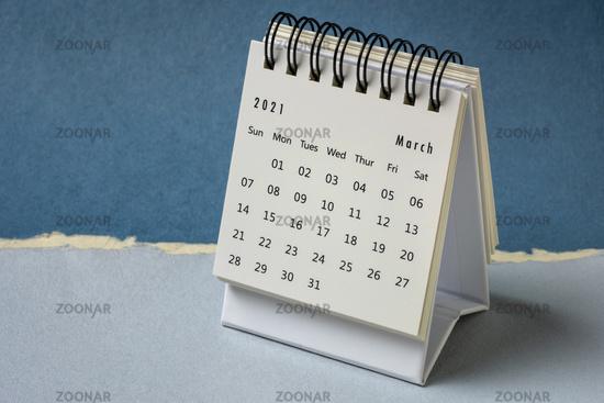 March 2021- spiral desktop calendar