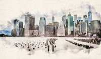 Watercolor Manhattan Skyline