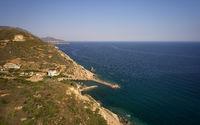 Aerial view on cretan village Almirida and Mediterannean sea. Crete, Greece.