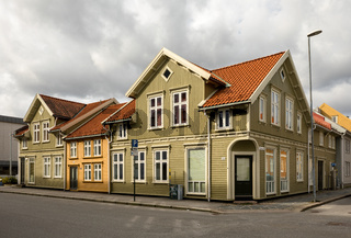 KRISTIANSAND, NORWAY - March 22, 2020: Colorful old wooden houses in Posebyen, the Old Town in Kristiansand.