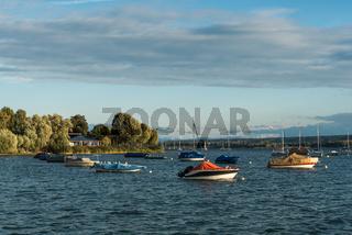 Blick vom Ufer in Allensbach auf den Bodensee mit Booten und Alpen, Landkreis Konstanz, Baden-Württemberg, Deutschland
