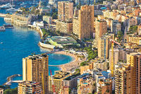 Les Plages. Monaco and Monte Carlo cityscape and harbor aerial view