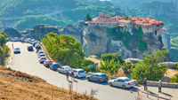 Cars parked near The Monastery of Varlaam in Meteora