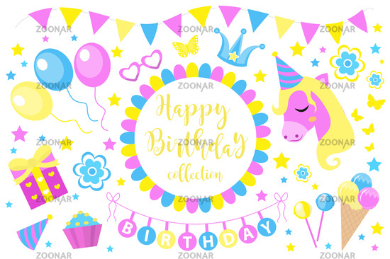 Happy birthday modern cute icons set, cartoon flat style. Party collection of design elements with unicorn, balloons, gerland, sweets. Candy and cake for childrens holiday kit. Vector illustration