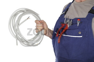 Elektroinstallateur mit Kabel