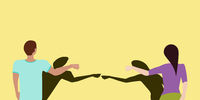 Social Distancing Fist Bump Greeting Vector