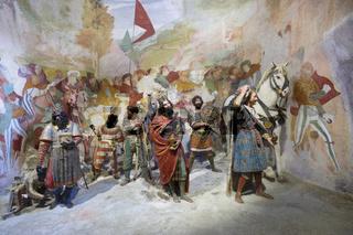 Ankunft der Heiligen Drei Könige. Darstellung in Figuren und Fresken des bedeutenden Renaissancekünstlers  Gaudenzio Ferrai