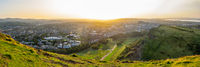 Panorama Of Edinburgh Cityscape At Sunset
