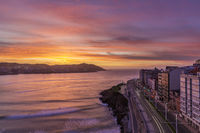 Evening view of A Coruna coastal city in Galicia