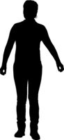 Silhouette of a walking girl on a white background
