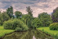 Summer Park canal pond landscape in Czech Republic
