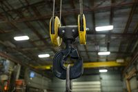 lifting hook suspended by wires ropes.