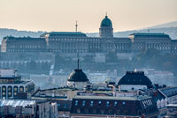 Morning view to Buda Castle and palace of the Hungarian kings in Budapest.