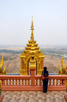 Female tourist at Wat Phra That Doi Phra Chan