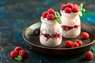 Homemade yogurt with raspberries.