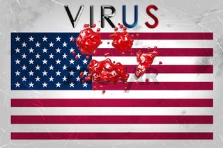 USA flag in crisis VIRUS and blood on grunge background design illustration