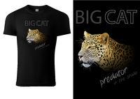 Black T-shirt Design with Leopard Head