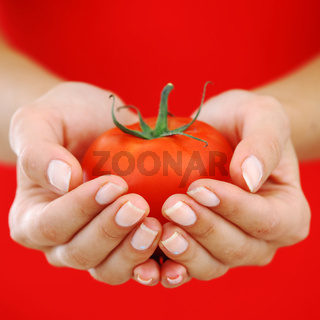 tomato in woman hands close up
