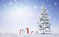 merry christmas with snow flakes - Illustration