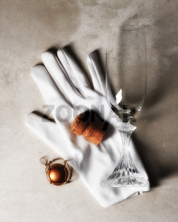 Champagne Cork on White glove with Flute Still Life
