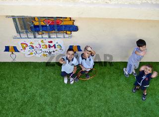 Jerusalem Israel. Children playing in a school