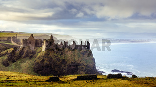 Dunluce Castle on the cliff in Bushmills, Filming location of Game of Thrones, Castle Greyjoy