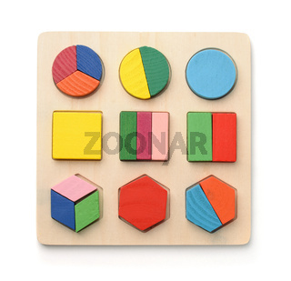Top view of wooden shape sorter puzzle toy