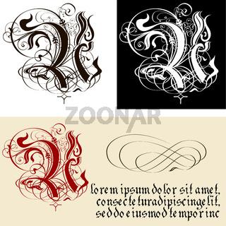 Decorative Gothic Letter U. Uncial Fraktur calligraphy.