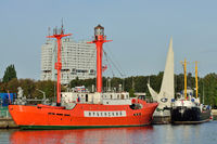 Kaliningrad, Russia - September 30, 2020: ship floating lighthouse Irbensky stands on the roadstead of the world ocean Museum