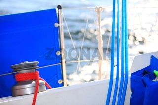 Winch with rope on sailing boat rigging