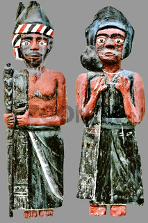 Batak figures man woman with gray background