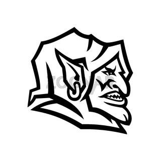 Goblin Head Side View Mascot Black and White