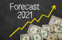 Text on blackboard with money - Forecast 2021