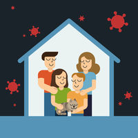 Stay at home awareness social media campaign and coronavirus prevention family smiling and staying together. Vector