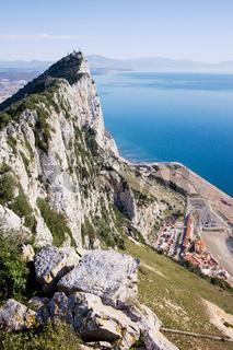 Gibraltar Rock and Mediterranean Sea